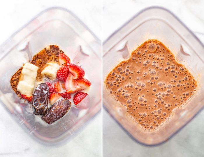 Side by side photos of bird's eye view blenders. The first photo is of the ingredients for a chocolate strawberry smoothie including banana, dates, strawberries, almond milk and strawberries. The second photo is of the chocolate strawberry smoothie blended in the blender.