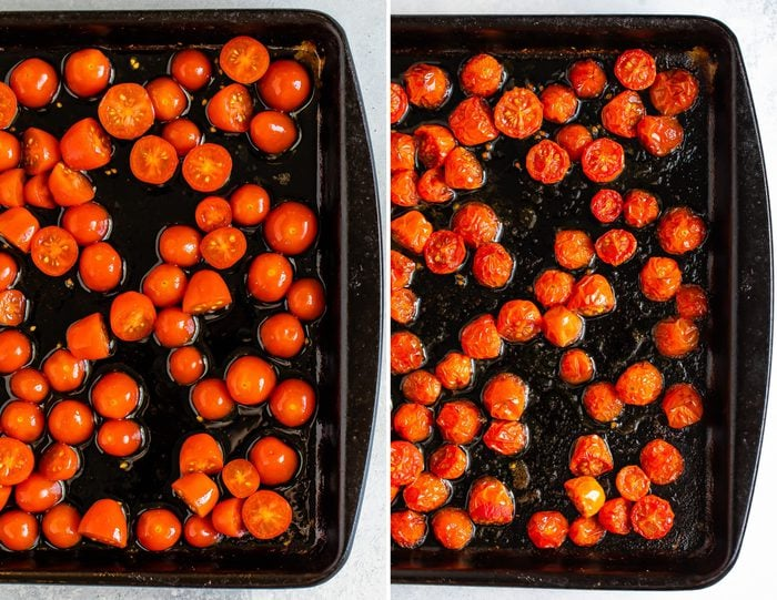 Side by side photos of cherry tomatoes on a baking sheet before being roasted, and a photo fo roasted cherry tomatoes on a sheet pan.