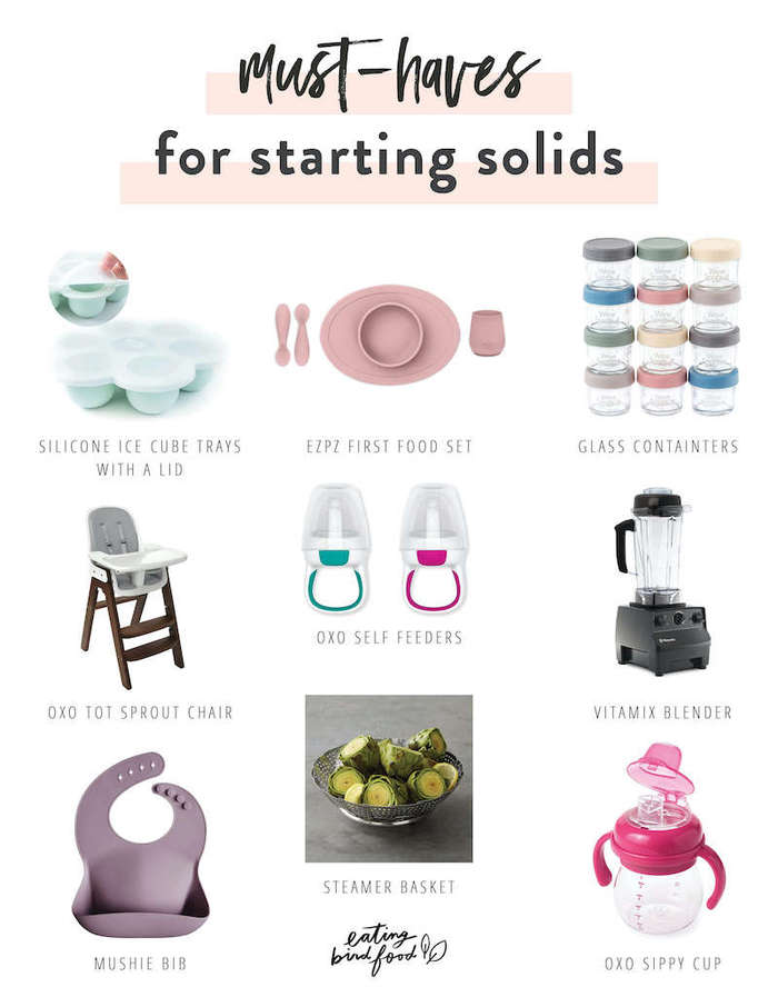A collage with must-have products for starting solids