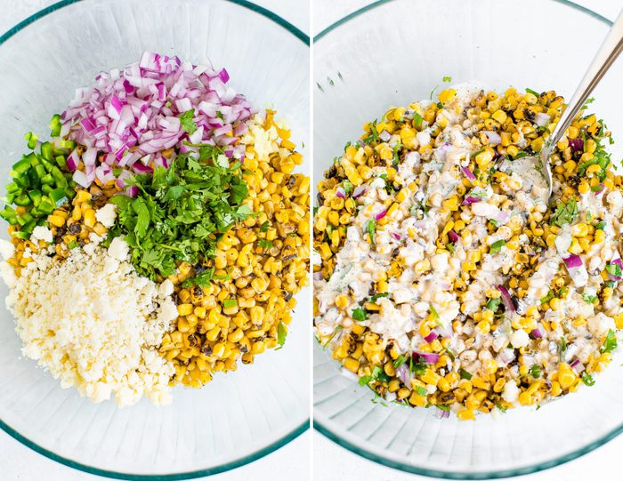 Side by side photos of two bowls. The first has the ingredients for a Mexican street corn salad (jalapeno, red onion, corn, cilantro and cheese). The second photo is of the ingredients mixed up and drizzled with a dreamy dressing.