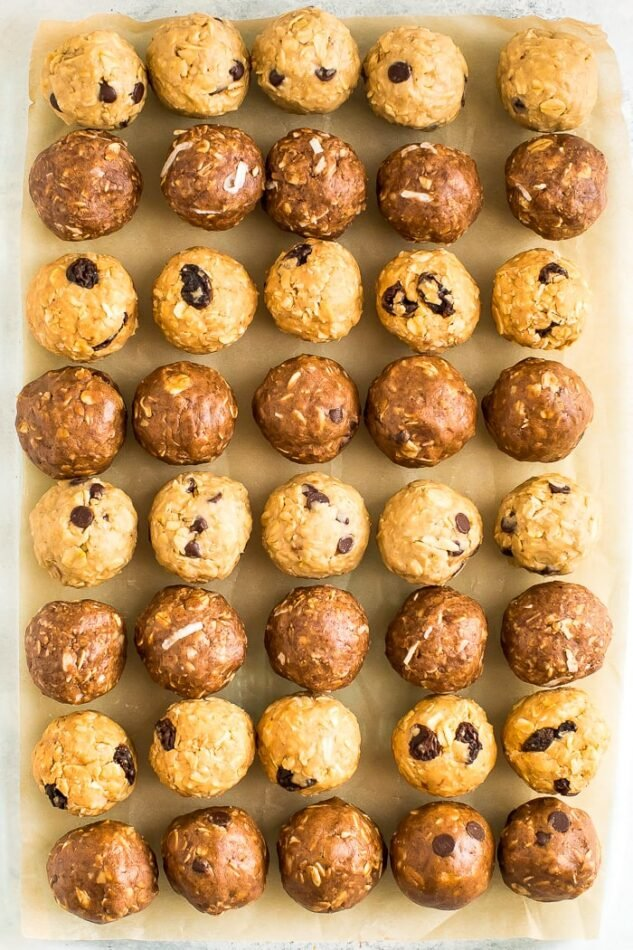 Parchment paper lined with protein balls.