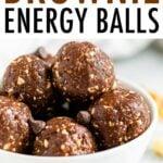 White bowl full of brownie energy balls.