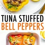 Photos of tuna stuffed bell peppers on a plate, and baked in a casserole dish.