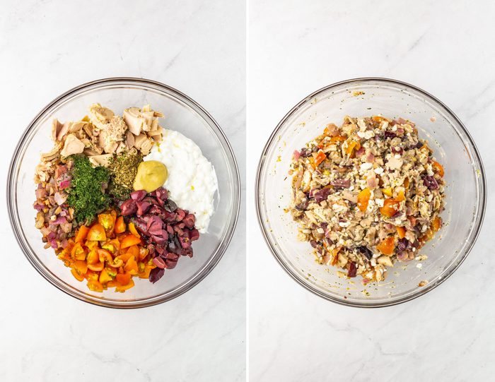Side by side photos of a mixing bowl with tomatoes, kalamata olives, tuna, cottage cheese and spices. The second photo is of the mixture mixed together.