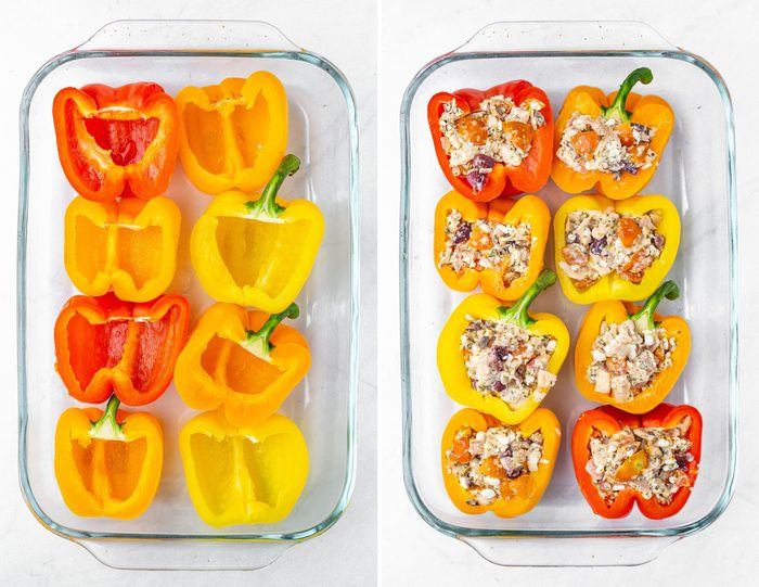 Side by side photos of a glass baking dish with halves of bell peppers and the second photo is of the pepper halves filled with a tuna stuffing.
