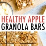 Apple Granola Bars on parchment paper and surrounded by apple slices and white chocolate chips.