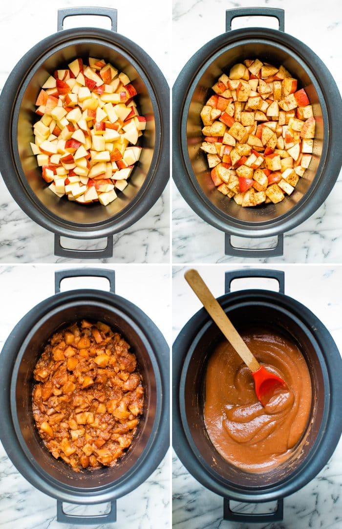 Four photos of the stages of making apple butter in a slow cooker. 1. Chopped apples in the slow cooker. 2. Cinnamon topped on the apples. 3. Apples cooked. 4. Apples puréed into butter,