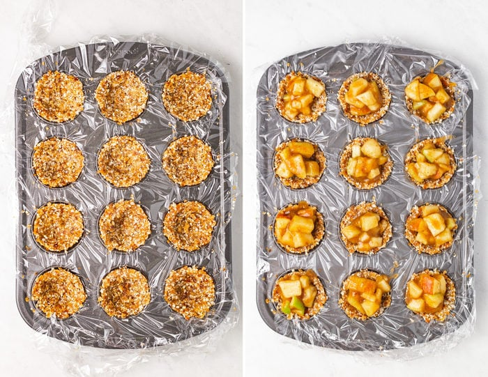 Side by side photos of a mini muffin tin with the no bake apple pie crust and then the tin again with the apple filling in it.