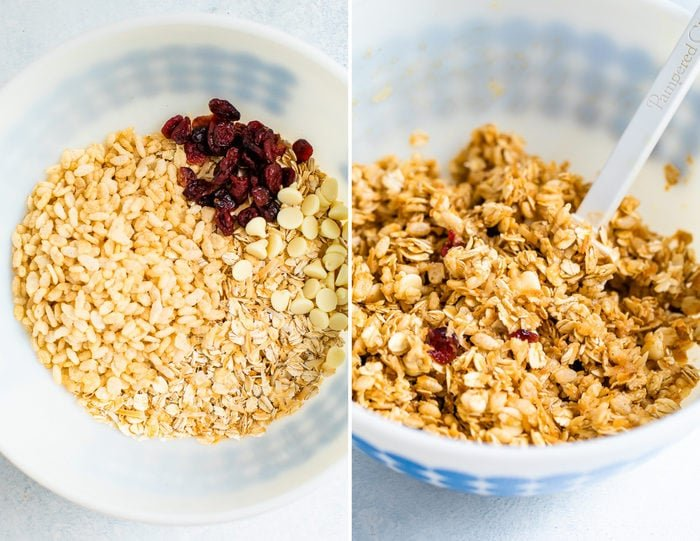 Side by side photos of mixture for cranberry granola bars.