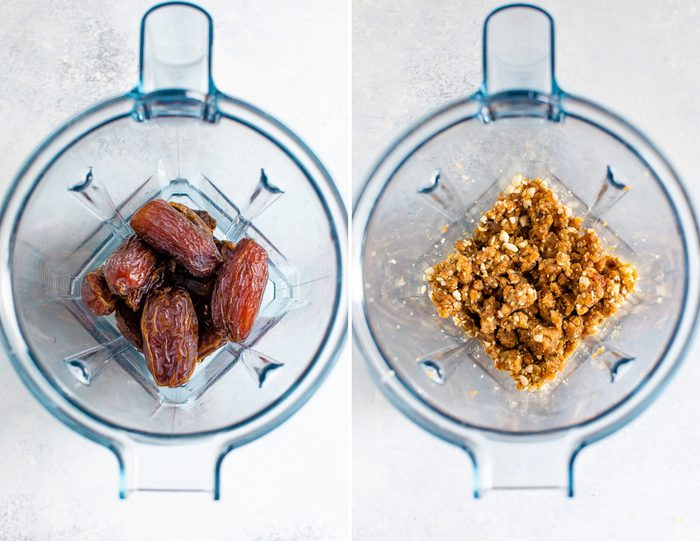 Side by side photos of dates in a blender before and after being blended.