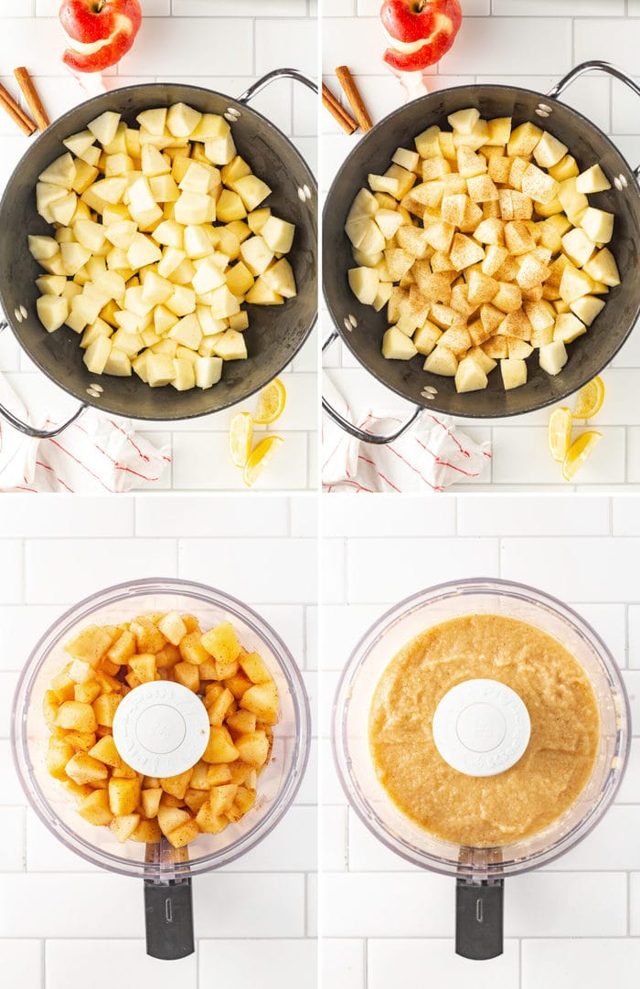 4 photos of the steps for how to make applesauce. Apples in the pot with cinnamon, then when cooked getting blended in a food processor.