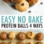 Variety of four protein balls in a bowl and lines up on parchment paper.