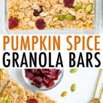 Pumpkin spice granola bars lined up.
