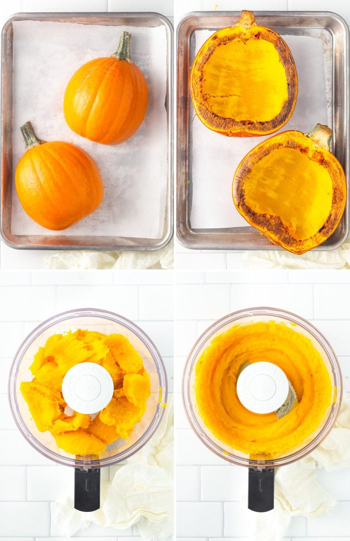 4 photos of the steps on how to make pumpkin puree: two pumpkin halves on a cookie sheet, the pumpkin roasted, the pumpkin in a food processor, and the pumpkin pureed in the food processor.