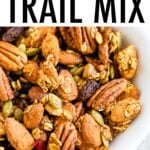 Bowl full of pumpkin spice nutty and fruity trail mix.