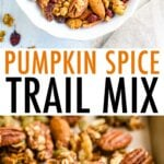 Bowl of pumpkin spice trail mix and a cookie sheet with the trail mix and nuts roasting.