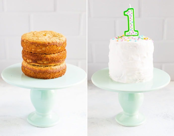 "Side by side photos of a 3 tier smash cake without frosting, and then with frosting and a ""1"" birthday candle and sprinkles."