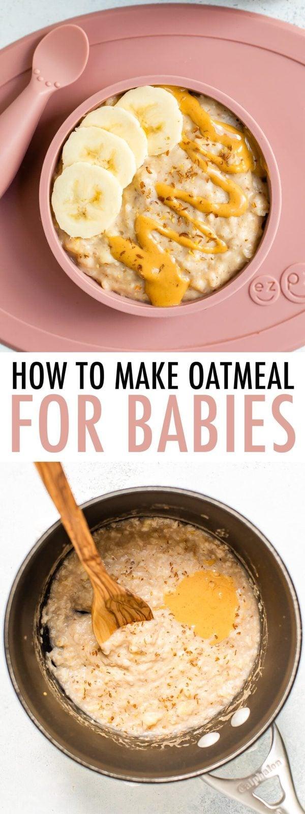 Photos de gruau pour bébé garni de beurre d'arachide et de banane dans un bol pour bébé.  La deuxième photo montre des flocons d'avoine cuits dans une casserole.