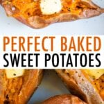Baked sweet potatoes topped with butter, salt and pepper.