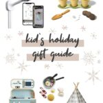Collage of toys and gift ideas to give to babies, kids and new parents for the holidays.