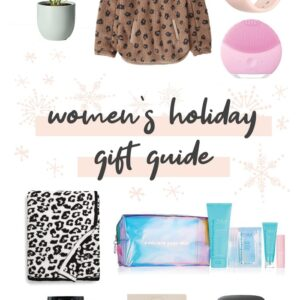 Collage of gift item ideas for women.