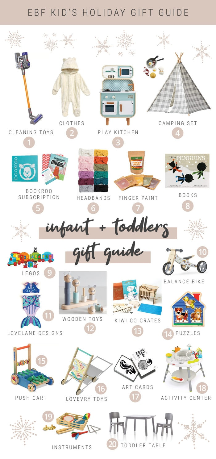 Toys and clothing gift ideas for infants and toddlers for the holidays and Christmas.