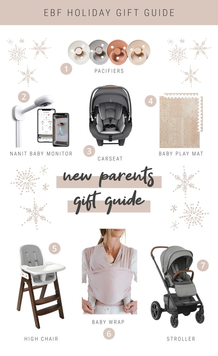 Collage of gift item ideas for new parents.