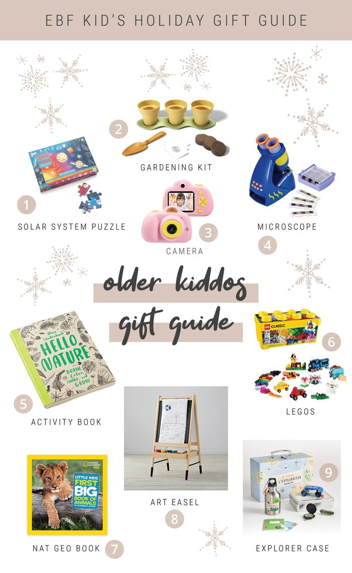 Collage of toys and activity items for gift ideas for older kids.