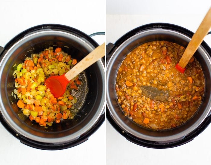 Side by side photos of an instant pot. In the first photo, carrots, onions and celery are being sautéed. In the second photo is the cooked lentil soup.