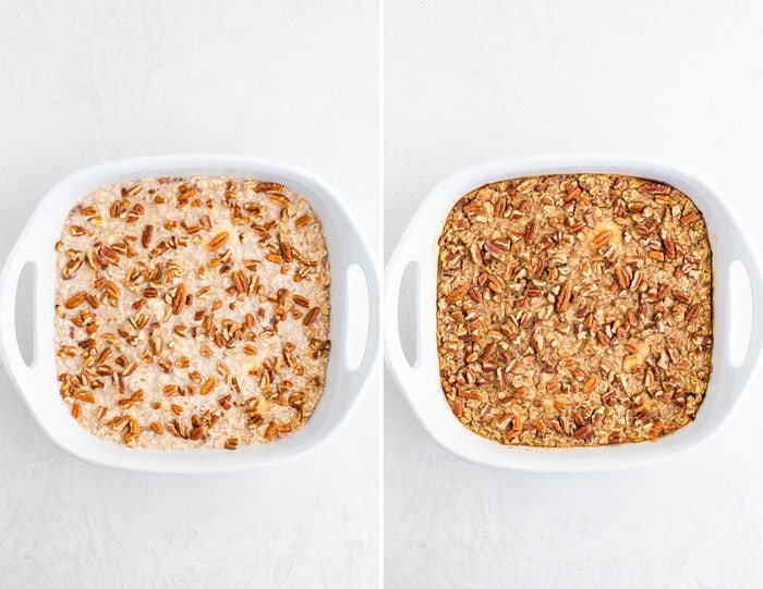 Side by side photos of maple pecan oatmeal in a baking dish before and after being baked.