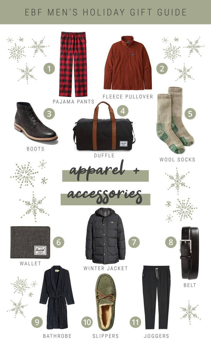Collage of accessories and apparel holiday gift ideas in a gift guide.