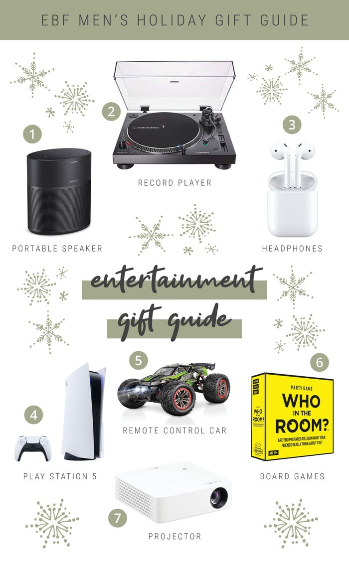Collage of tech and entertainment holiday gift ideas for guys.