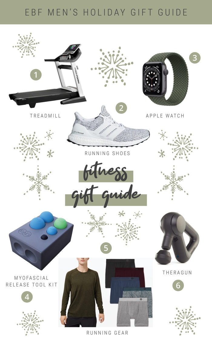 Fitness holiday gift guide collage.