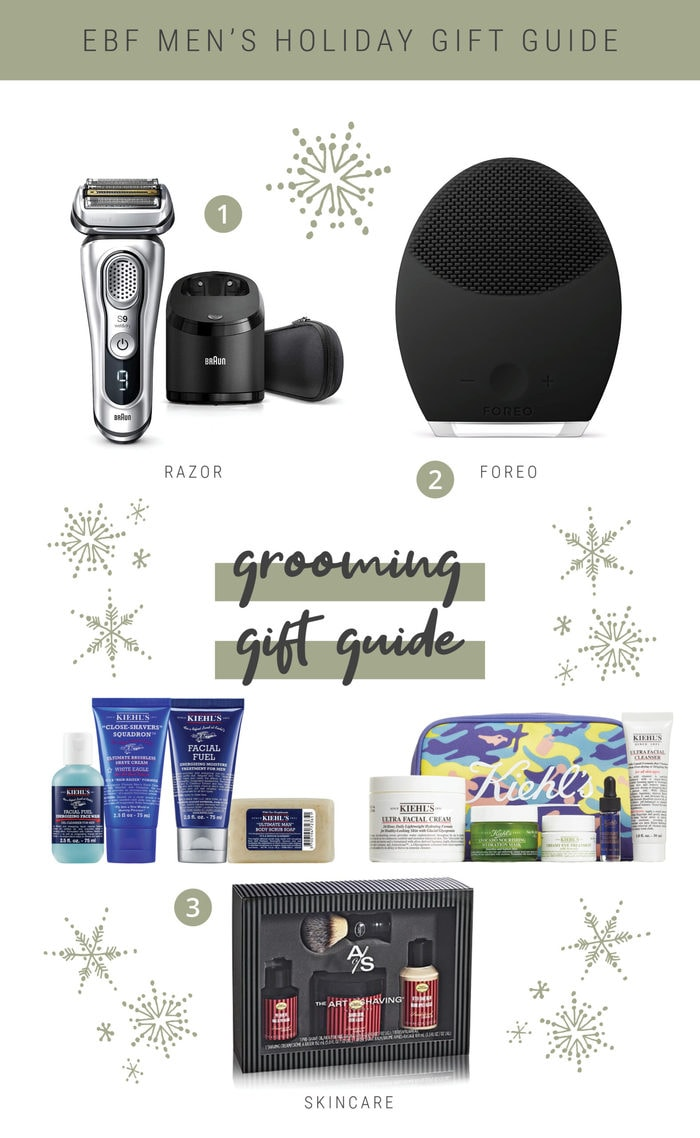 Collage gift guide of men's grooming items.