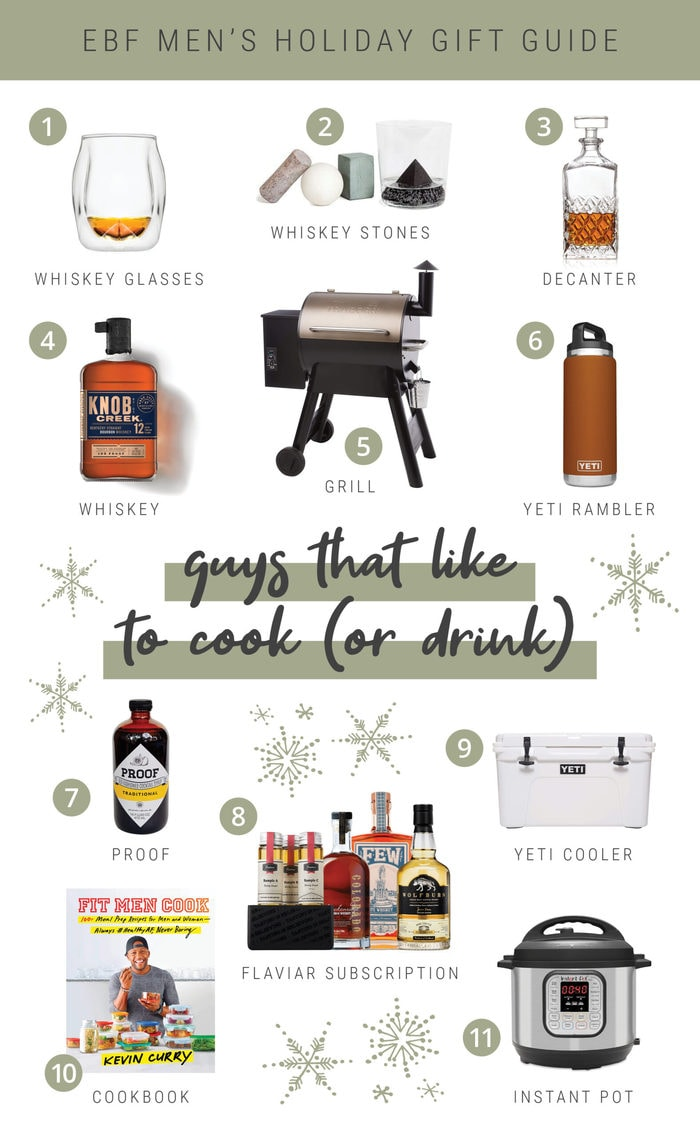 Cooking and drinking gift ideas for the holidays. Collage gift guide.