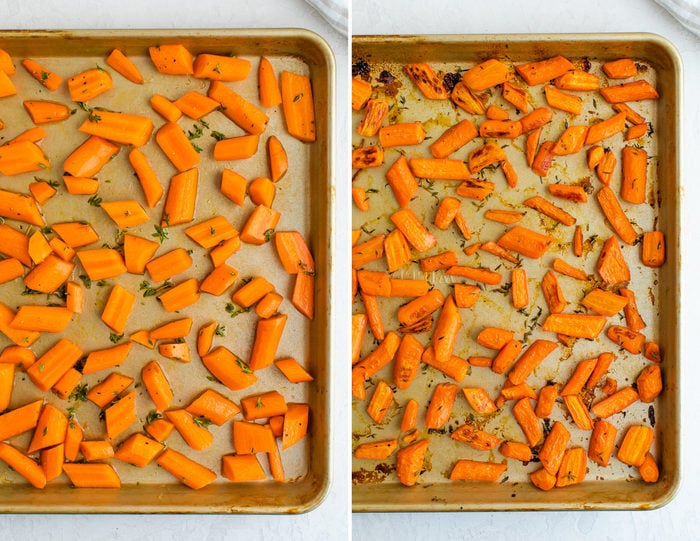 Side by side photos. One is raw carrots on a baking sheet. The next is roasted carrots on a baking sheet.