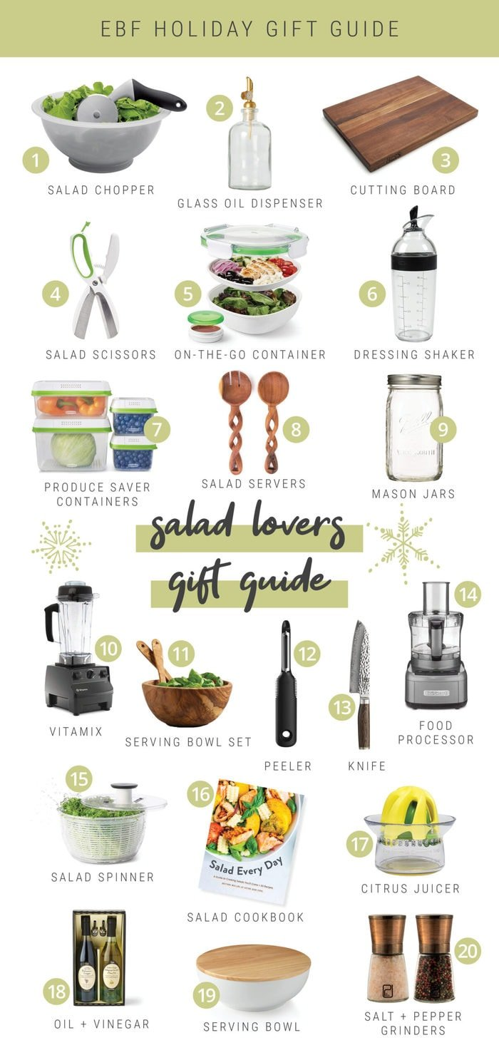 Collage gift guide for salad lovers including bowls, salad making tools and containers.