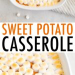 Tow photos of sweet potato casserole topped with marshmallows.
