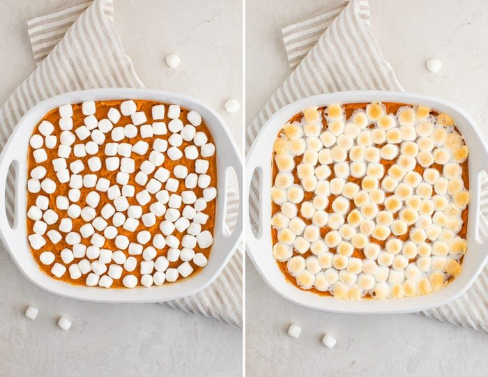 Side by side photos of sweet potato casserole with marshmallows before being baked and after being baked.
