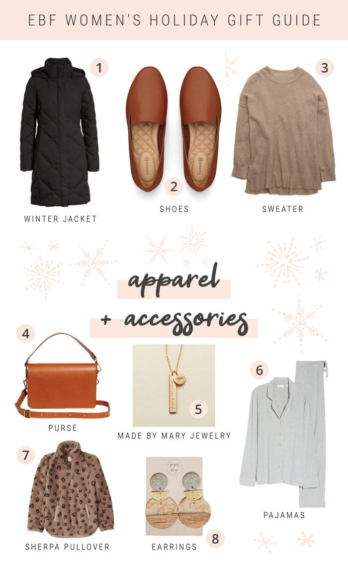 Collage of accessories and apparel for a women's holiday gift guide.