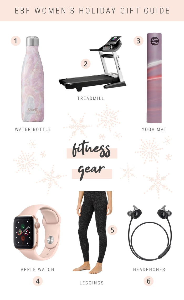Collage gift guide of women's fitness gear items.