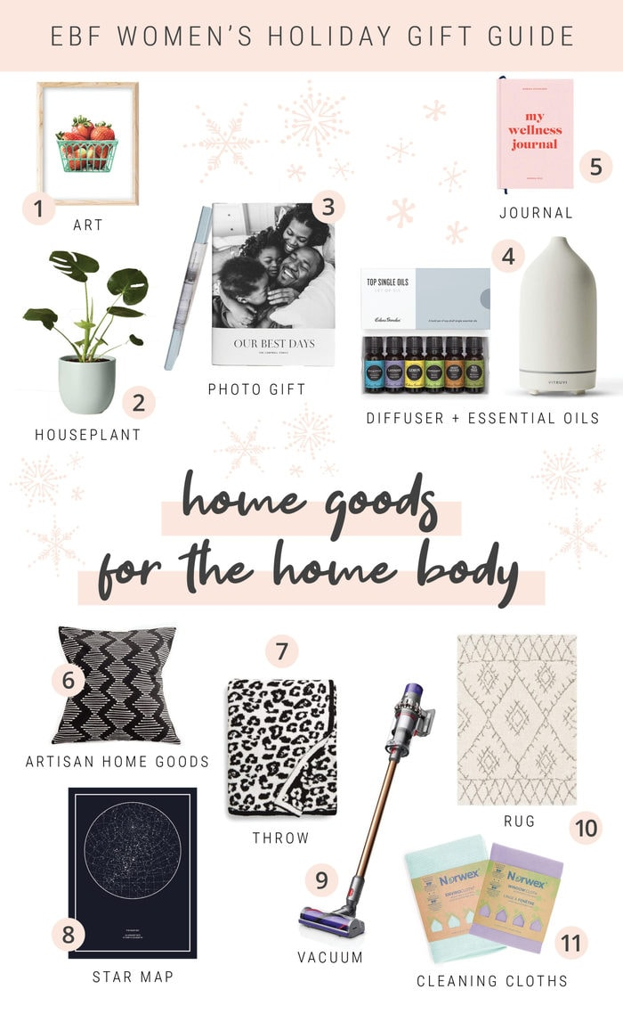 Collage gift guide with items for the home.