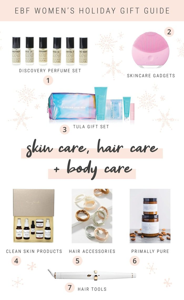 Collage of skin, hair and body care items for a women's holiday gift guide.