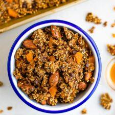 Bowl of quinoa granola.