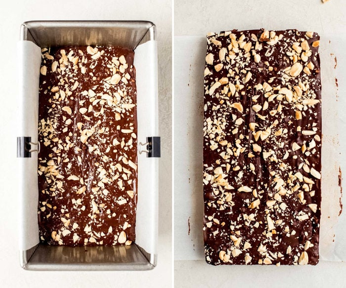 Side by side photos of peanut fudge in a bread tin and taken out of the tin in a rectangle.