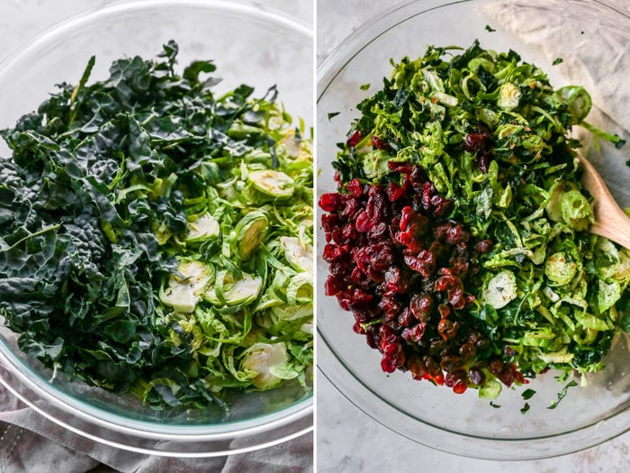 Side by side photos. One is of shredded kale and brussels in a bowl. The second has dried cranberries added to the bowl.