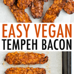 Tempeh bacon on a plate and on a sheet pan.