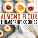 Photo of thumbprint cookies on a cooling rack and a photo of them on a plate.