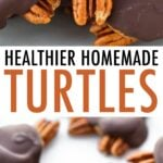 Close up photo of homemade turtle candies, and another photo of turtles lined up on a countertop.