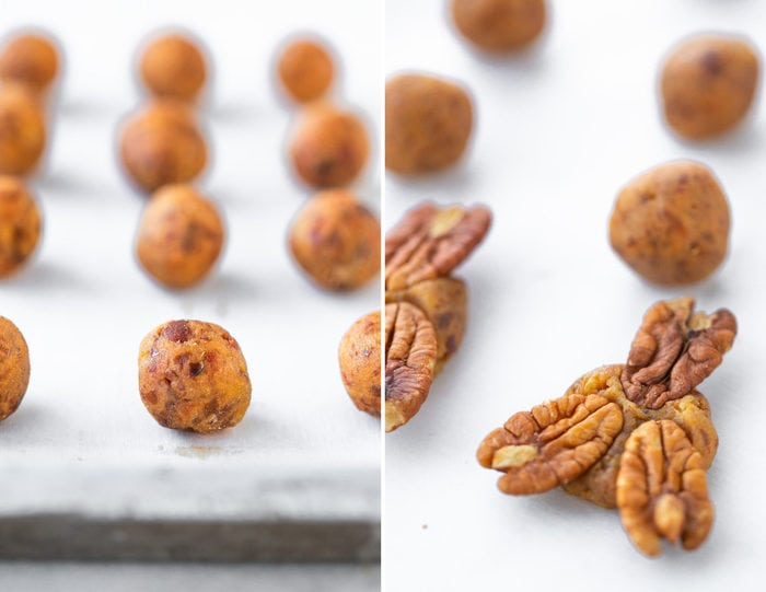 Side by side photos of the process to make pecan turtles. The first photo is of balls of date caramel and then a photo of three pecan pressed into the date caramel.